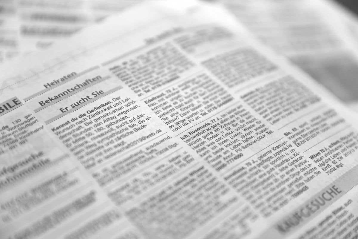 Kontaktanzeigen in Zeitung